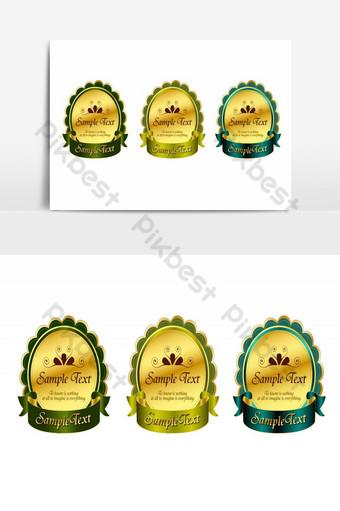 preciosas etiquetas vectoriales de color dorado Elementos graficos Modelo AI