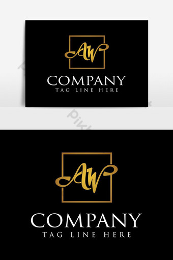alfabeto letra a w logo de lujo dorado Elementos graficos Modelo AI