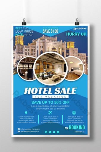 فندق الشركات الحديثة بيع لتصميم قالب ملصق السفر عطلة قالب AI