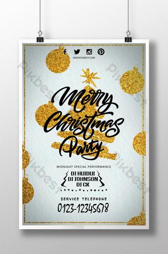 Affiche élégante d'arbre de Noël d'or joyeux Noël Modèle PSD