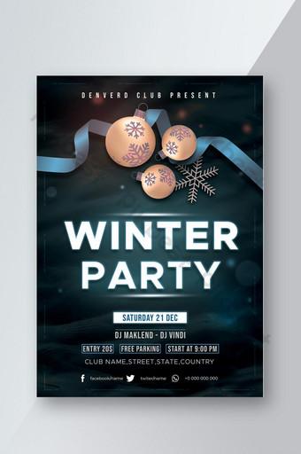 Conception de flyer de fête de musique d'hiver Modèle PSD