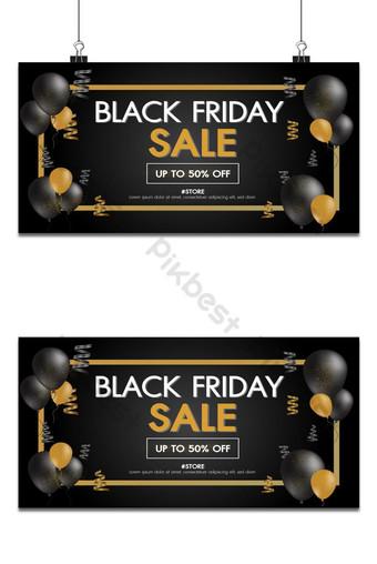 penjualan jumat hitam latar belakang emas dengan spanduk promo penjualan balon tata letak desain modern Latar belakang Templat AI