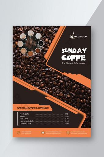 Flyer conceptuel réaliste du café du dimanche Modèle AI