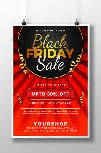 Flyer de vente Black Friday Golden Red Modèle PSD