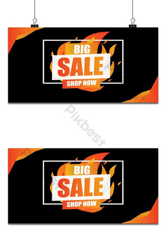 Big Sale fire burn template concept on black background with frame.End of season special Backgrounds Template AI