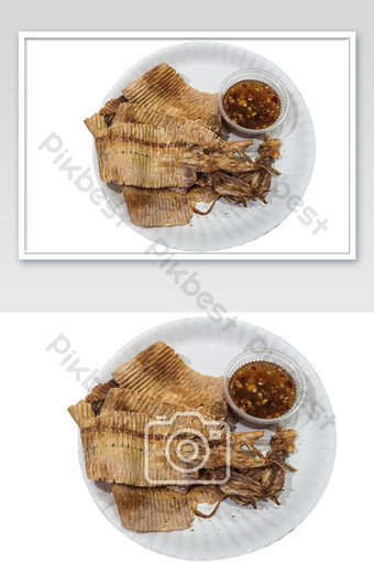 Grilled dried squid with spicy seafood sauce isolate on white background. Photo Template JPG