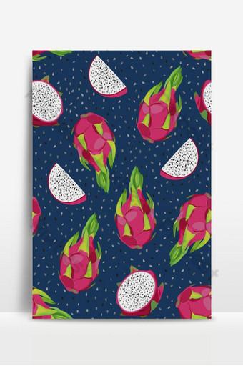 fruta del dragón y rebanada de patrones sin fisuras con semillas sobre fondo azul exótico tropical Fondos Modelo EPS