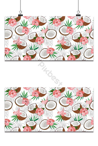 Mô hình liền mạch miếng dừa và lá cọ với hoa dâm bụt màu hồng Minh hoạ vector Nền Bản mẫu EPS