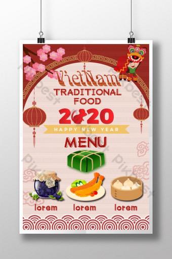 Specjalne menu na wietnamskie tradycyjne święto Tet Szablon PSD