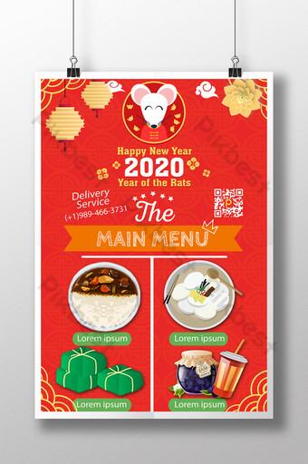 Thực đơn các món ăn truyền thốngày Tết của người Việt Nam Bản mẫu PSD