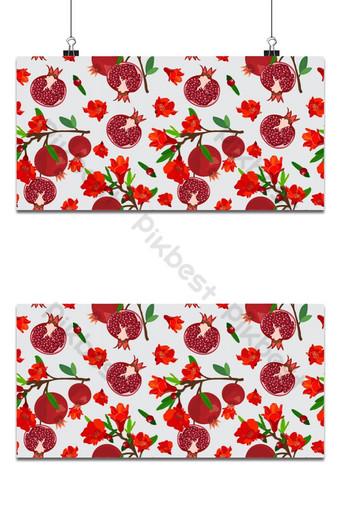 Frutas de granada de patrones sin fisuras con flores sobre fondo blanco alimentos orgánicos frescos Fondos Modelo EPS