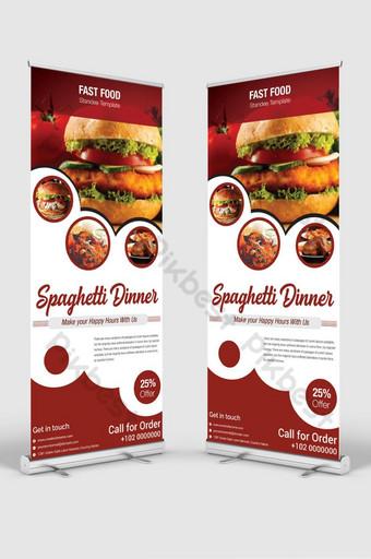 anuncio publicitario del restaurante rood roll up banner Modelo AI