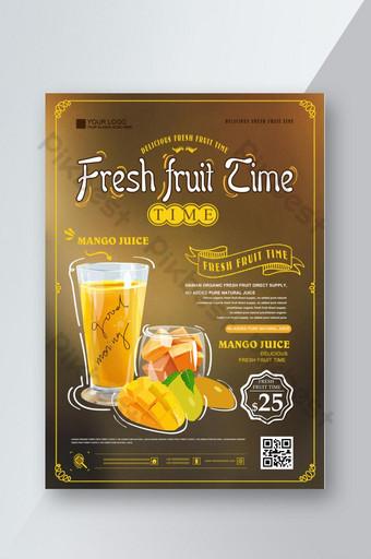 Liste de prix des boissons de jus de fruits de style simple Liste de commande du magasin de boissons Jus de mangue Menu de recettes Modèle PSD
