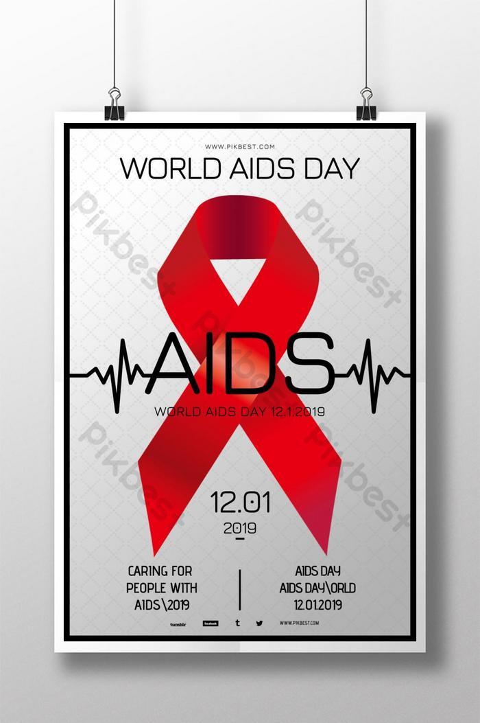 Серебряный простой дизайн плаката Всемирного дня борьбы со СПИДом