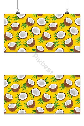 Mô hình liền mạch miếng dừa trênền vàng Minh hoạ vector Nền Bản mẫu EPS