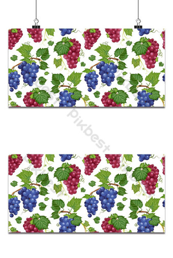 Patrón sin fisuras de vid de uva y hojas sobre fondo blanco rojo de alimentos orgánicos frescos Fondos Modelo EPS