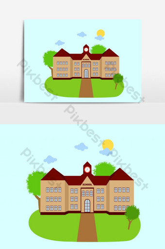 edificio escolar y vector de fondo verde patio Elementos graficos Modelo EPS