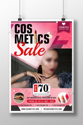 plantilla de cartel de psd de venta de cosméticos de lápiz labial Modelo PSD