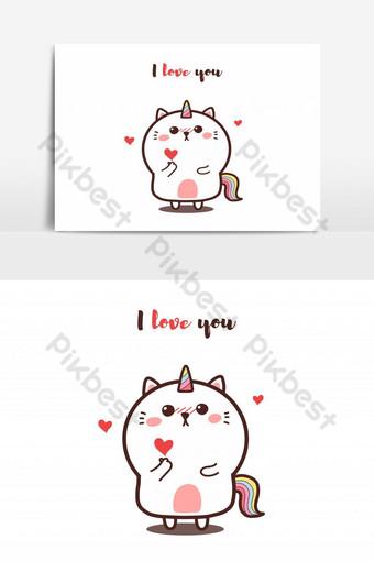 lindo gato unicornio dando mini corazón kawaii dibujado a mano dibujos animados garabatos día de san valentín amo Elementos graficos Modelo AI