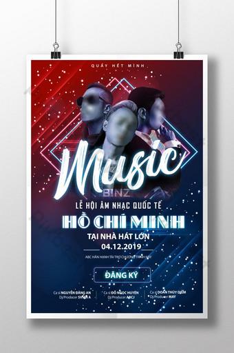 Des affiches musicales pour le festival international de musique Ho Chi Minh 2019 pleines de musique jeune Modèle AI