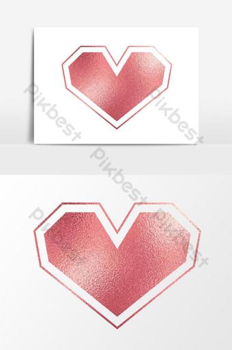 mawar emas jantung png bentuk geometris transparan Elemen Grafis Templat PSD