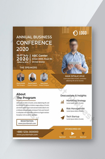 Conception de flyers de conférence d'affaires Modèle PSD