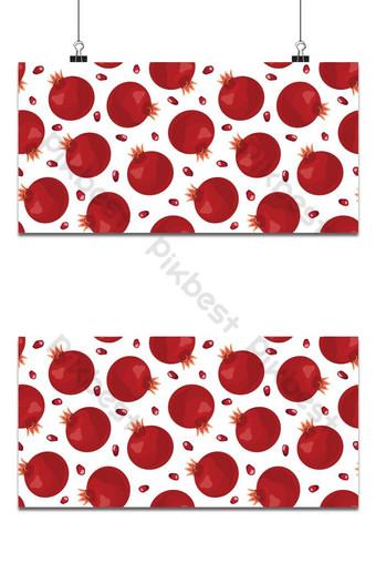 Granada frutas de patrones sin fisuras y semillas sobre fondo blanco rojo de alimentos orgánicos frescos Fondos Modelo EPS