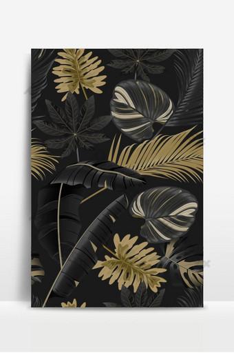 patrón sin costuras de lujo con hojas tropicales sobre fondo oscuro Fondos Modelo EPS