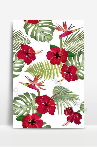 أوراق الاستوائية نمط سلس مع زهرة الكركديه الأحمر وطيور الجنة خلفيات قالب EPS