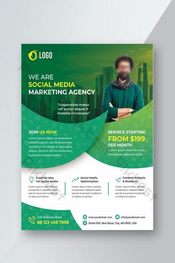 Dépliant de marketing créatif sur les entreprises et les médias sociaux Modèle PSD