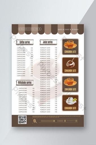coffeeeeeee shop tienda de bebidas menú recetas menú receta orden menú coffeeeeeee lista de precios de bebidas Modelo PSD
