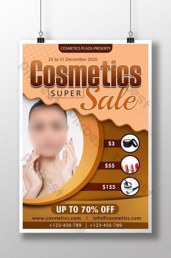 Modèle d'Affiche PSD de super vente de cosmétiques marron pêche Modèle PSD