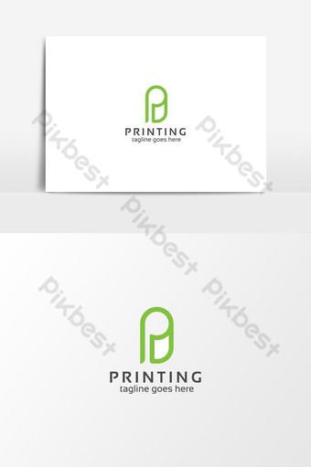 logotipo de letra p de impresión digital Elementos graficos Modelo AI
