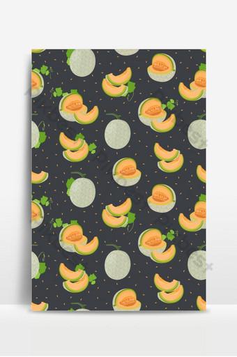 melón entero y rebanada de patrones sin fisuras sobre fondo negro con semillas de melón fresco Fondos Modelo EPS