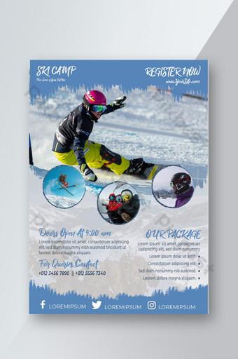 plantilla de diseño de volante de esquí de nieve Modelo AI