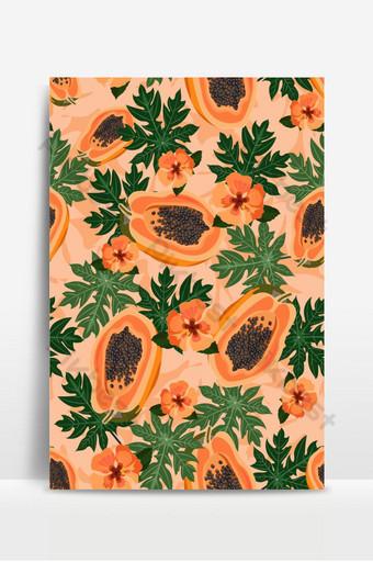 木瓜水果無縫模式與葉子和橙色芙蓉粉彩橙色背景上 背景 模板 EPS