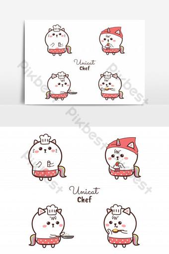 mèo dễ thương đầu bếp kỳ lân phim hoạt hình vẽ tay và bộ sưu tập logo nấu ăn màu ngọt ngào Công cụ đồ họa Bản mẫu AI
