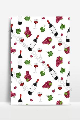 Patrón sin fisuras de racimo de uva con copas de vino tinto y botellas sobre fondo blanco. Fondos Modelo EPS