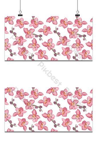 orquídea rosa, floral, seamless, patrón, flores, florecer, flor, follaje, blanco, plano de fondo Fondos Modelo EPS