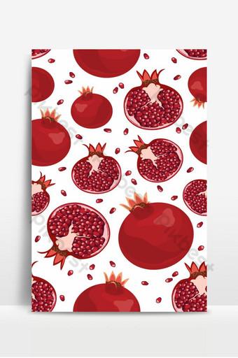 Patrón sin fisuras de frutas y semillas de granada sobre fondo blanco rojo de alimentos orgánicos frescos Fondos Modelo EPS