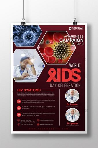 세계 에이즈의 날 인식을위한 현대적이고 상징적 인 의료 포스터 템플릿 템플릿 AI