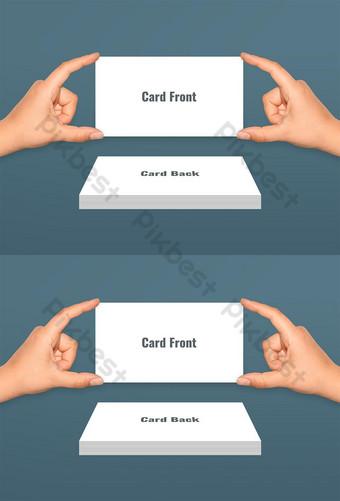 tarjeta de visita con maqueta psd de dos manos Modelo PSD