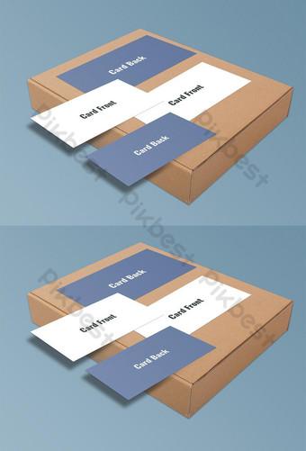 Carte de visite sur un modèle de maquette psd boîte Modèle PSD