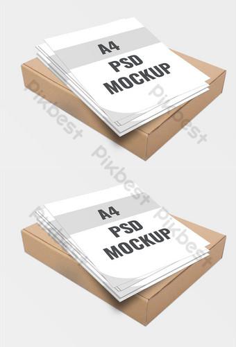 Tờ rơi A4 mockup quan điểm công ty trên hộp trống Bản mẫu PSD