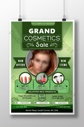 plantilla de póster psd de venta de gran cosmética verde Modelo PSD