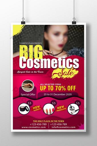 plantilla de cartel de psd de venta de cosméticos grandes rosa amarillo Modelo PSD