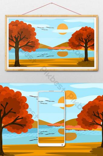 vistas del lago y el cielo azul el sol nubes y árboles con hojas de naranja Ilustración Modelo AI
