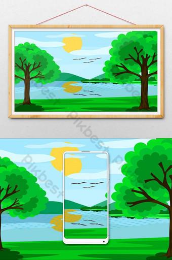 vistas al lago y al cielo azul, el sol, las nubes y los árboles, es un hermoso paisaje natural. Ilustración Modelo AI