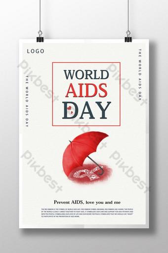 간단하고 관대 한 공공 복지 포스터 세계 에이즈의 날 공공 복지 포스터 홍보 템플릿 PSD