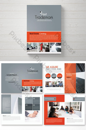 folletos del informe anual de negocios gris naranja 16 páginas Modelo PSD
